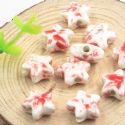 Beads, Porcelain, Red , White , Star shape, 14mm x 14mm x 7mm, 1 bead [Sold Individually], [TCZ0042]